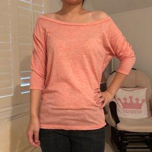 Pink off the shoulder 3/4 sleeve top
